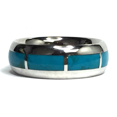 SLEEPING BEAUTY TURQUOISE 8 SECTION INLAID ETERNITY BAND