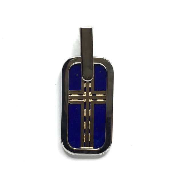 LAPIS INLAID DOG TAG CROSS PENDANT