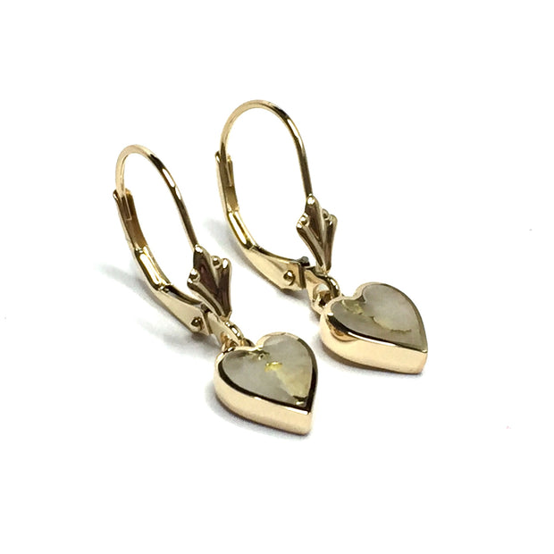 Fine Quality Gold And Quartz Hear Shape Inlaid Lever Back Earrings