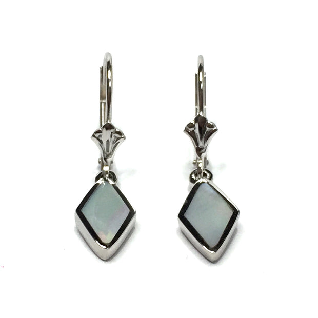 MOTHER OF PEARL DIAMOND SHAPE INLAID LEVER BACK EARRINGS