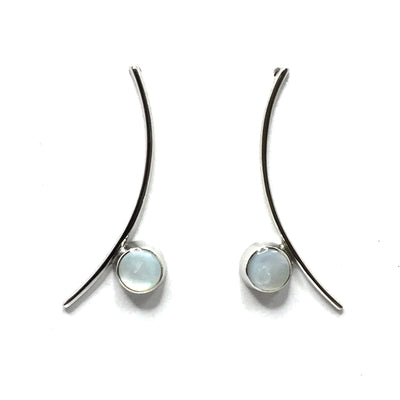 MOTHER OF PEARL ROUND INLAY CURVED BAR EARRINGS