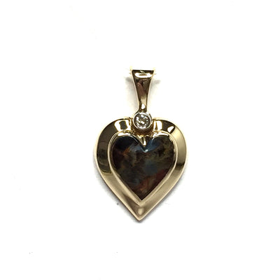 PIETERSITE HEART SHAPE INLAID .02ctw DIAMOND PENDANT