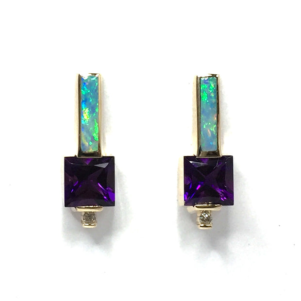 Opal Earrings Rectangle Inlaid Princess Cut Amethyst .06ctw Diamonds 14k Yellow Gold