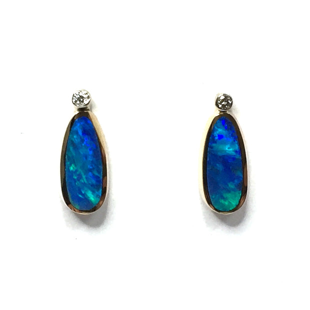 FINE QUALITY OPAL INLAID .04ctw DIAMOND EARRINGS