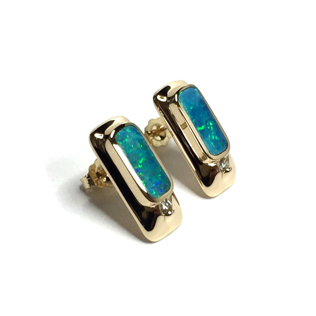 FINE QUALITY OPAL RECTANGLE INLAID AND .05ctw DIAMOND EARRINGS