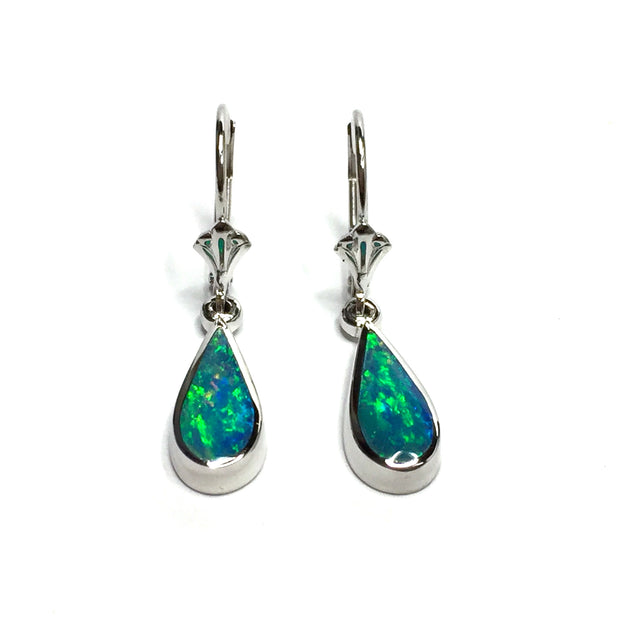 SUPERIOR QUALITY OPAL TEAR DROP INLAID LEVER BACK EARRINGS