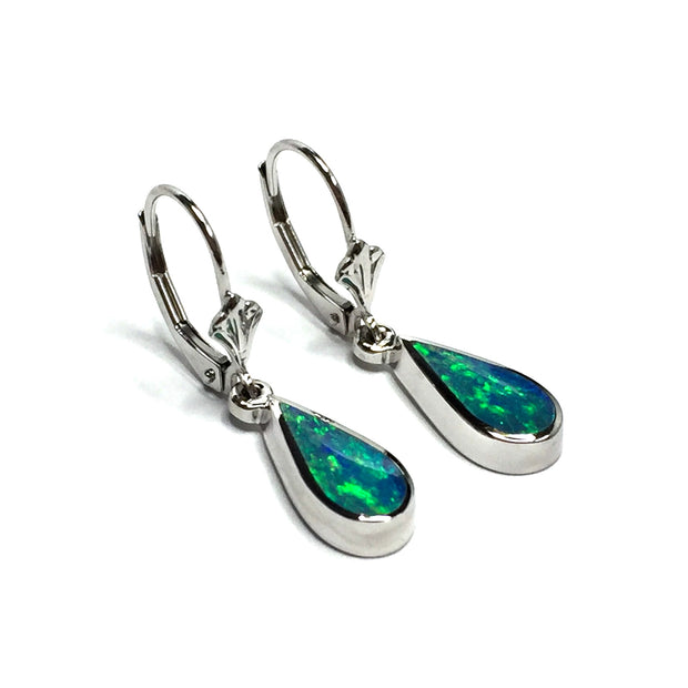 Opal Earrings Tear Drop Inlaid Design Lever Backs 14k White Gold