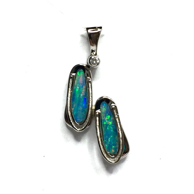 SUPERIOR QUALITY OPAL INLAID .02ctw DIAMOND SANDALS PENDANT