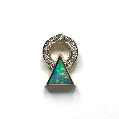 Opal Pendant Triangle Inlaid .16ctw Round Diamonds Halo 14k Yellow Gold