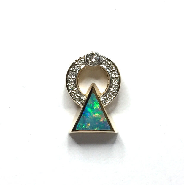 SUPERIOR QUALITY OPAL TRIANGLE INLAID .16ctw DIAMOND PENDANT