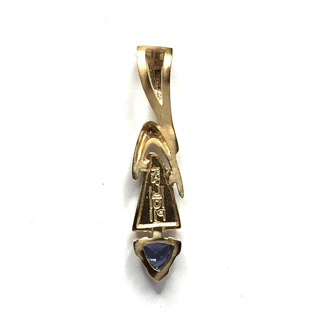 SUPERIOR QUALITY OPAL INLAID AND TRILLION CUT TANZANITE PENDANT