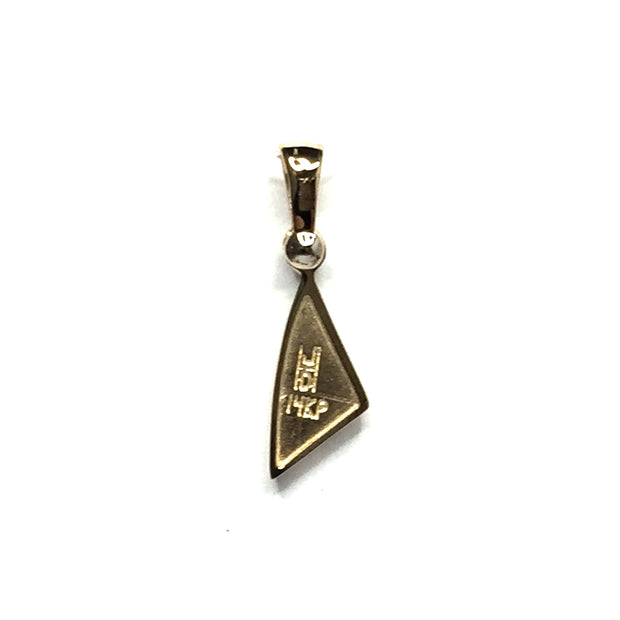 FINE QUALITY OPAL TRIANGLE INLAID AND .02ct DIAMOND PENDANT