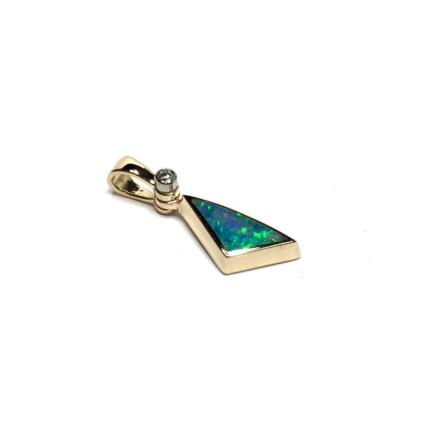 Opal Pendant Triangle Inlaid Design .02ctw Round Diamond 14k Yellow Gold