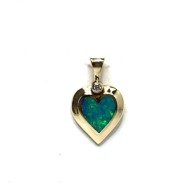 Opal Pendant Heart Shape Inlaid Design .02ct Round Diamond 14k Yellow Gold