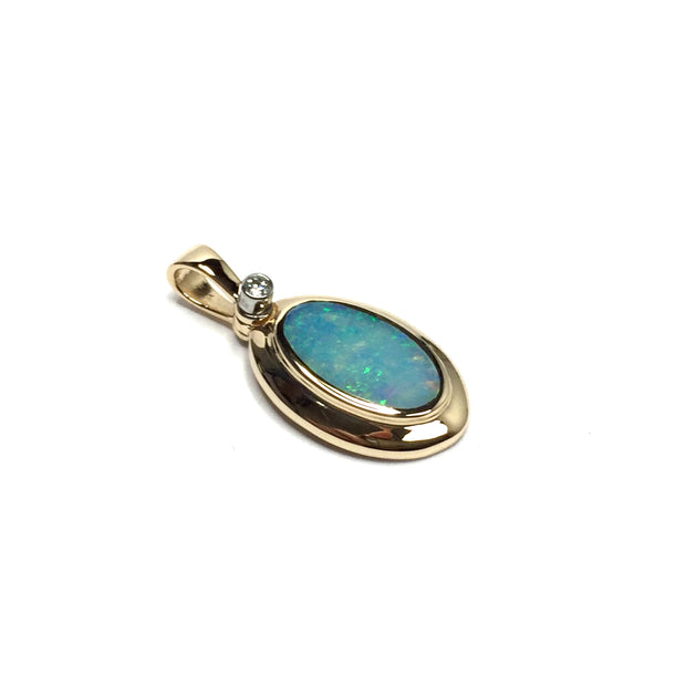 Opal Pendant Oval Inlaid Design .02ct Round Diamond 14k Yellow Gold