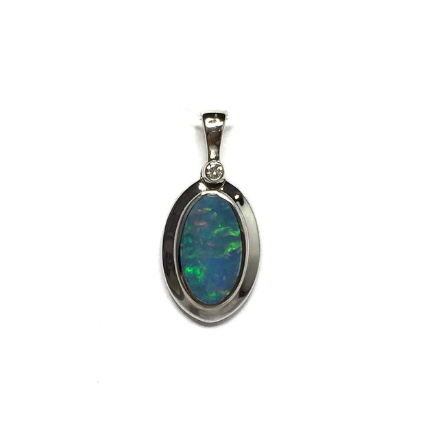 Opal Pendant Oval Inlaid Design .02ct Round Diamond 14k White Gold
