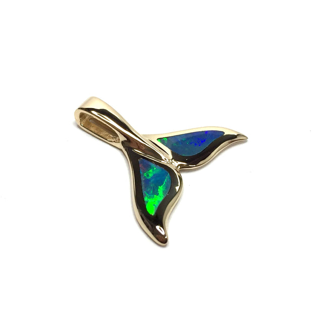 MEDIUM DOUBLE SIDED SUPERIOR QUALITY OPAL INLAID WHALE TAIL PENDANT-Hawkes and Co
