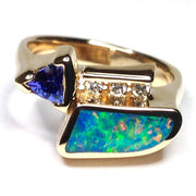 Natural Australian Opal Rings Geometric Inlaid Trillion Cut Tanzanite .08ctw Diamond 14k Yellow Gold
