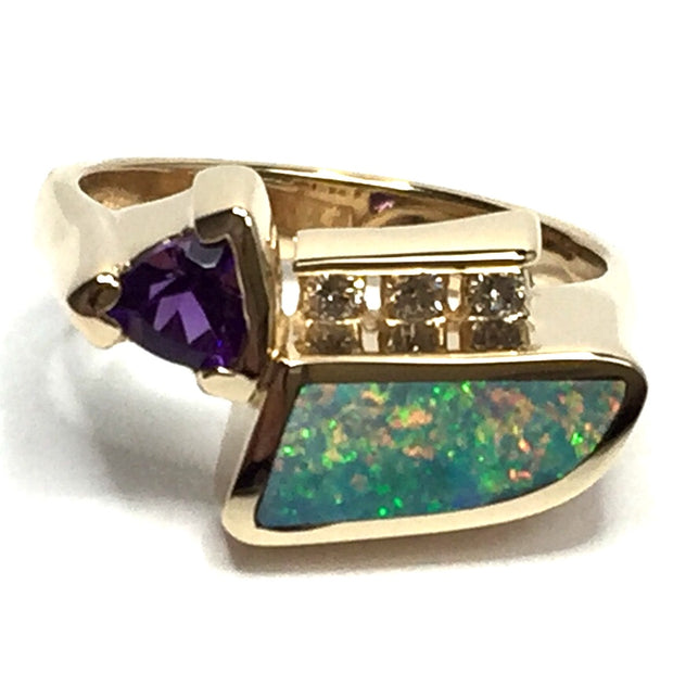 SUPERIOR QUALITY OPAL INLAID TRILLION AMETHYST AND .08ctw DIAMOND RING