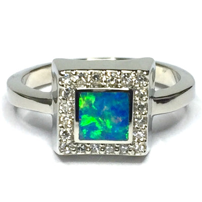 SUPERIOR QUALITY OPAL SQUARE INLAID AND .14ctw DIAMOND RING