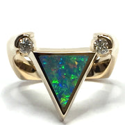 Natural Australian Opal Rings Triangle Inlaid .14ctw Round Diamonds 14k Yellow Gold