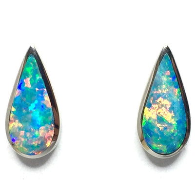 Opal Earrings Tear Drop Inlaid Design Studs 14k White Gold