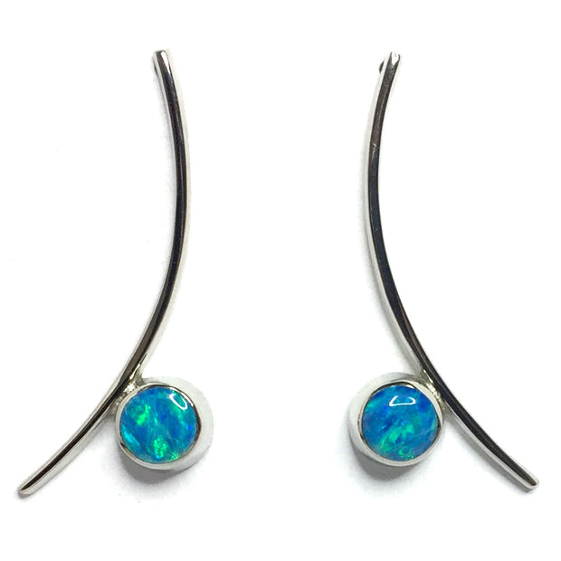 Opal Earrings Round Inlaid Curved Bar Design Studs 14k White Gold