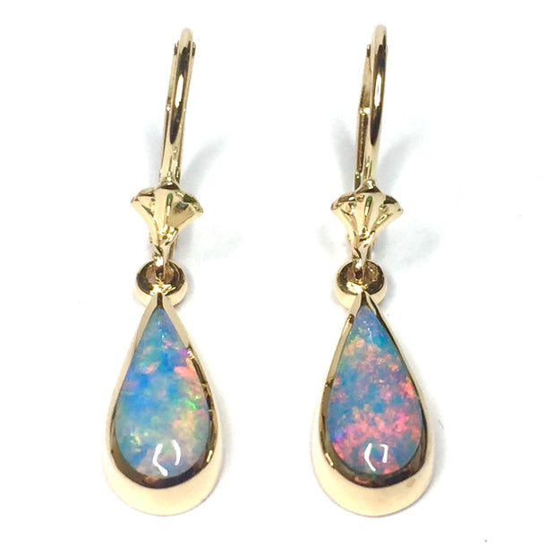 Opal Earrings Tear Drop Inlaid Design Lever Backs 14k Yellow Gold
