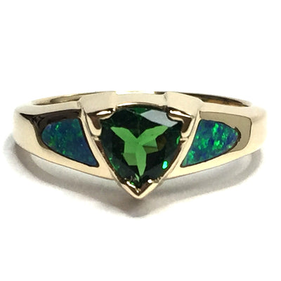 SUPERIOR QUALITY OPAL 2 SECTION INLAID AND TSAVORITE RING