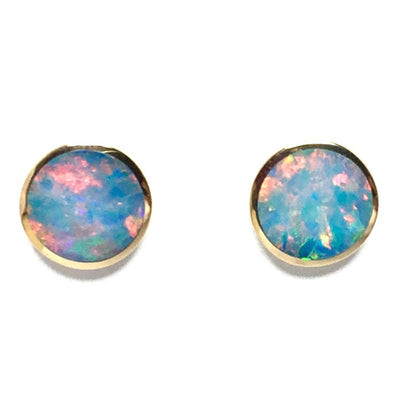 Opal Earrings 9mm Round Inlaid Design Studs 14k Yellow Gold