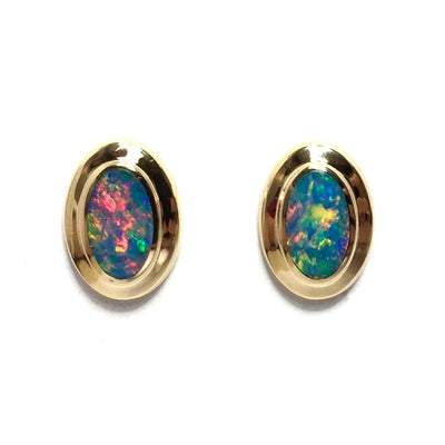 Opal Earrings Oval Inlaid Design Studs 14k Yellow Gold