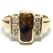 NATURAL PIETERSITE RECTANGLE INLAID .24ctw DIAMOND RING