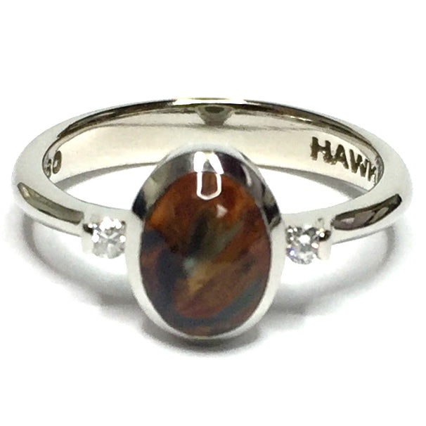 NATURAL PIETERSITE INLAID LADIES RING