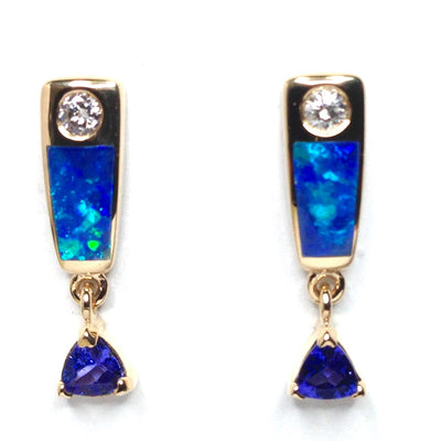Opal Earrings Inlaid Trillion Cut Tanzanite .11ctw Round Diamonds 14k Yellow Gold