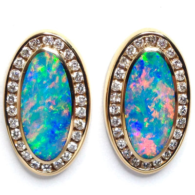 Opal Earrings Oval Inlaid Design .73ctw Round Diamonds Halo 14k Yellow Gold