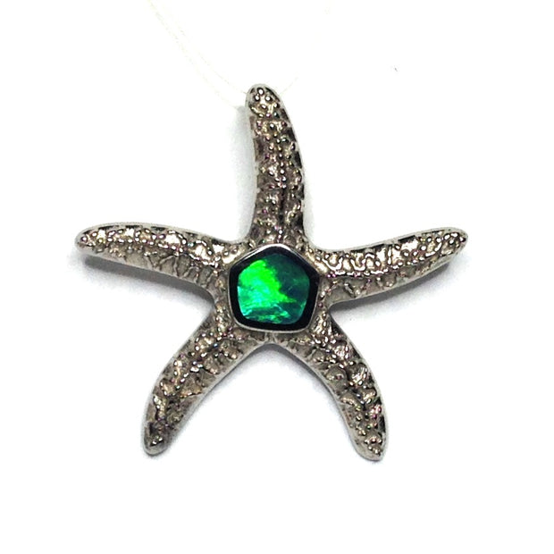 Opal pendant inlaid realistic star fish sea life design 14k white gold