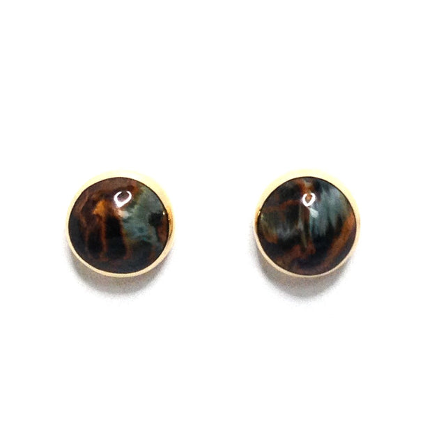 NATURAL PIETERSITE ROUND INLAID 9MM EARRINGS