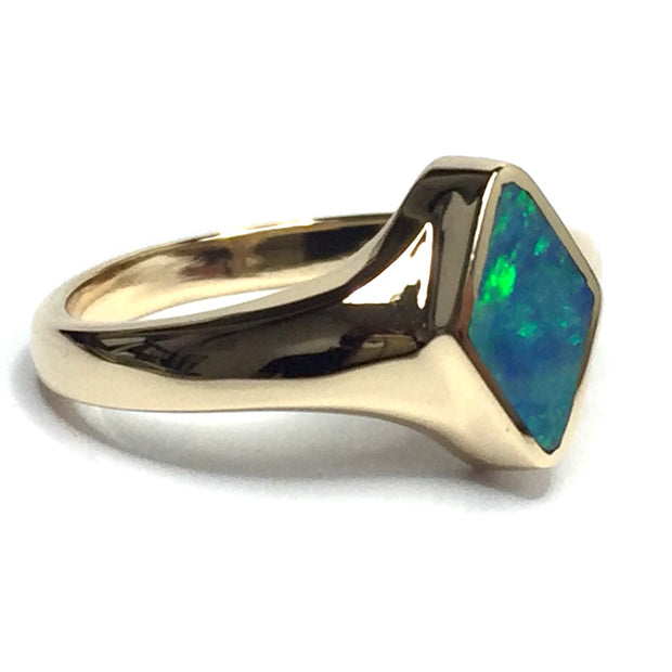Opal Rings Diamond Shape Inlaid Design 14k Yellow Gold