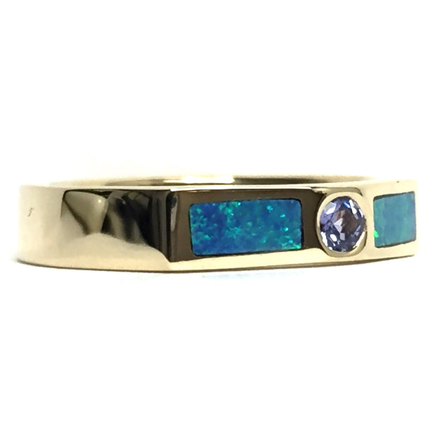 Round Tanzanite Double Sided Natural Opal Inlay Ring made of 14k Yellow Gold
