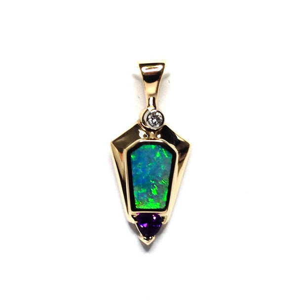 Opal Pendant Geometric Inlaid Trillion Cut Amethyst .02ct Round Diamond 14k Yellow Gold