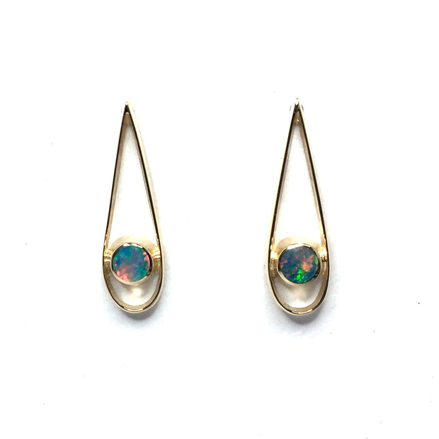 Opal Earrings Round Inlaid Open Tear Drop Design Studs 14k Yellow gold