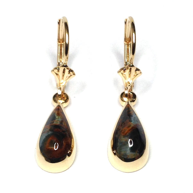 NATURAL PIETERSITE INLAID TEAR DROP LEVER BACK EARRINGS