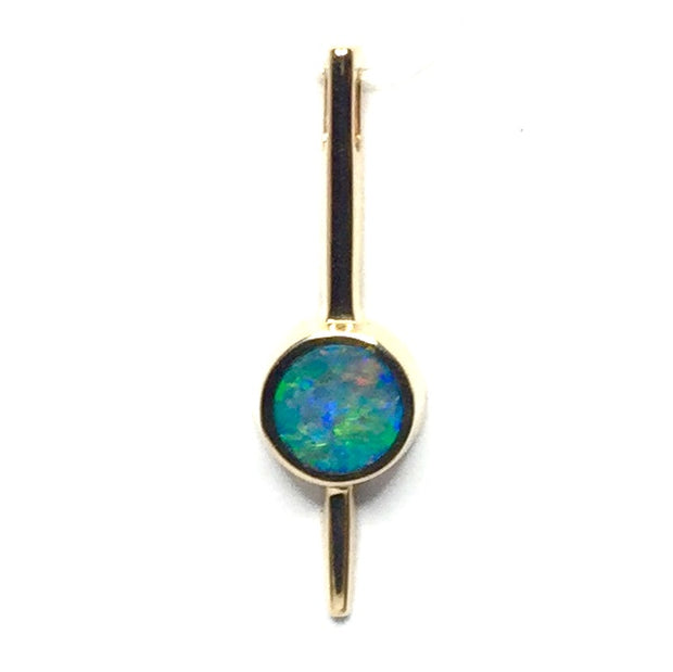 SUPERIOR QUALITY NATURAL OPAL ROUND INLAID BAR PENDANT