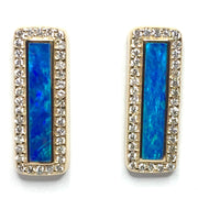 Opal Earrings Rectangle Inlaid .50ctw Round Diamonds Halo Design 14k Yellow Gold