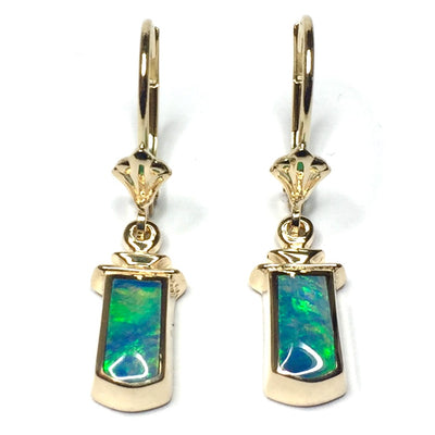 Opal Earrings Geometric Inlaid Design Lever Backs 14k Yellow Gold