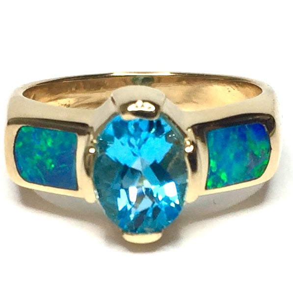 SUPERIOR QUALITY OPAL 2 SECTION INLAID OVAL SWISS BLUE TOPAZ RING