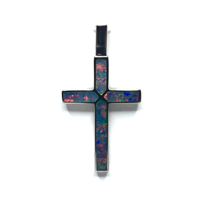 Opal Pendant 4 Section Inlaid Cross 14k White Gold
