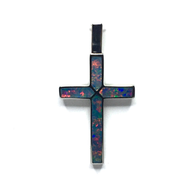 SUPERIOR QUALITY NATURAL OPAL 4 SECTION INLAID CROSS PENDANT