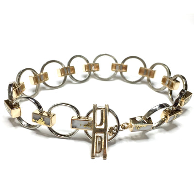 Circle and Rectangle Link Inlaid Gold Quartz Bracelet made of 14k White and Yellow Gold