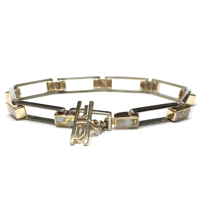 Rectangle Link Inlaid Gold Quartz Bracelet made of 14k White and yellow Gold